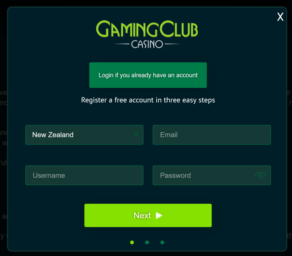 gaming club login