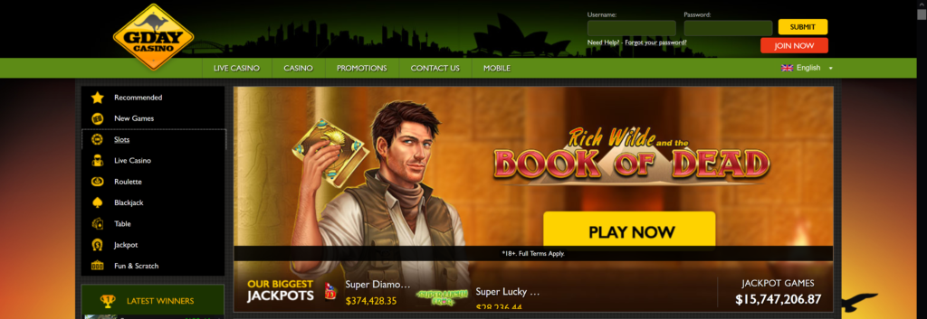 gday casino pokies