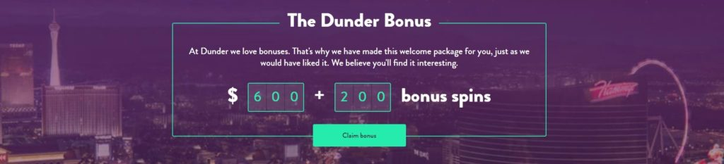dunder 200 free spins